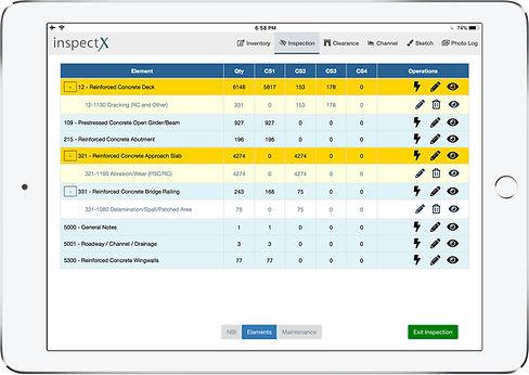 inspectX app - elements page