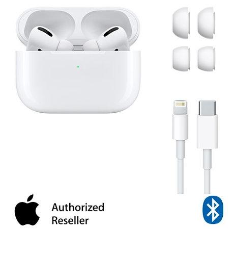 אוזניות אלחוטיות Apple AirPods Pro Bluetooth בצבע לבן עם מיקרופון הכוללות כיסוי