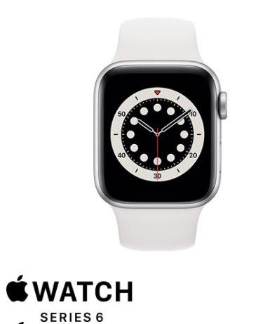 שעון חכם אפל Apple Watch Series 6 GPS 40mm בצבע כסוף עם רצועת ספורט לבנה