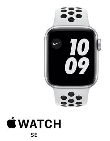 שעון חכם אפל Apple Watch Nike SE GPS 40mm בצבע כסוף חלל עם רצועת ספורט לבנה