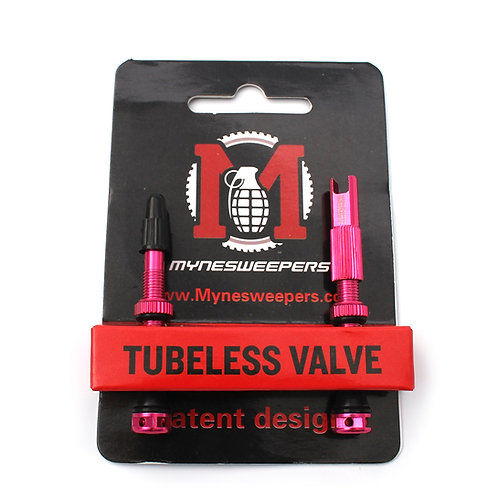 Mynesweepers 47mm Pink  Alloy Tubeless Valve Stems  /pair
