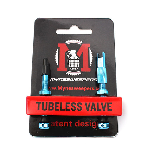 Mynesweepers 47mm Blue  Alloy Tubeless Valve Stems  /pair