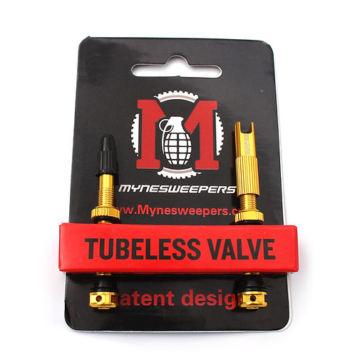 Mynesweepers 47mm Gold  Alloy Tubeless Valve Stems  /pair