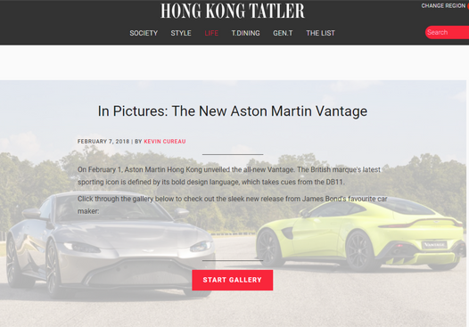 Aston Martin Vantage Hong Kong Tatler article online
