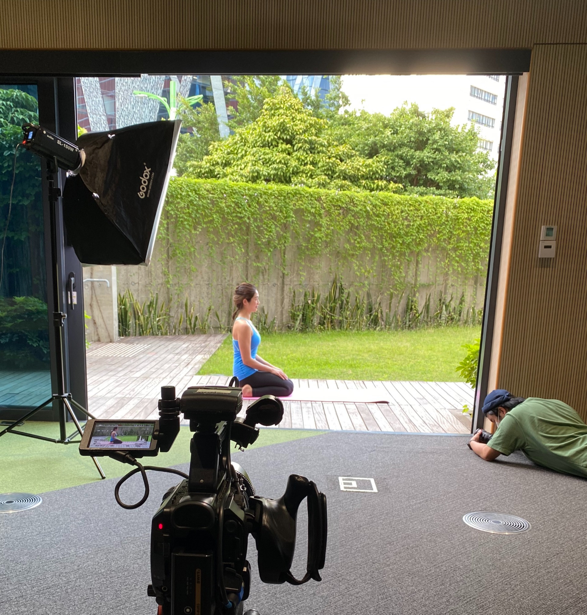 Behind the scenes of online yoga class video