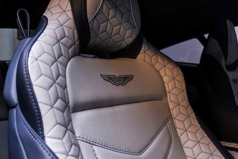 Close up of Aston Martin Superleggea leather seat in event preview