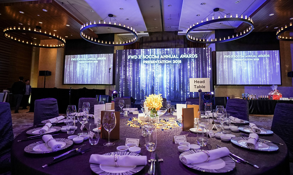 FWD x BOCOM Annual Dinner with diamond showcased on led wall