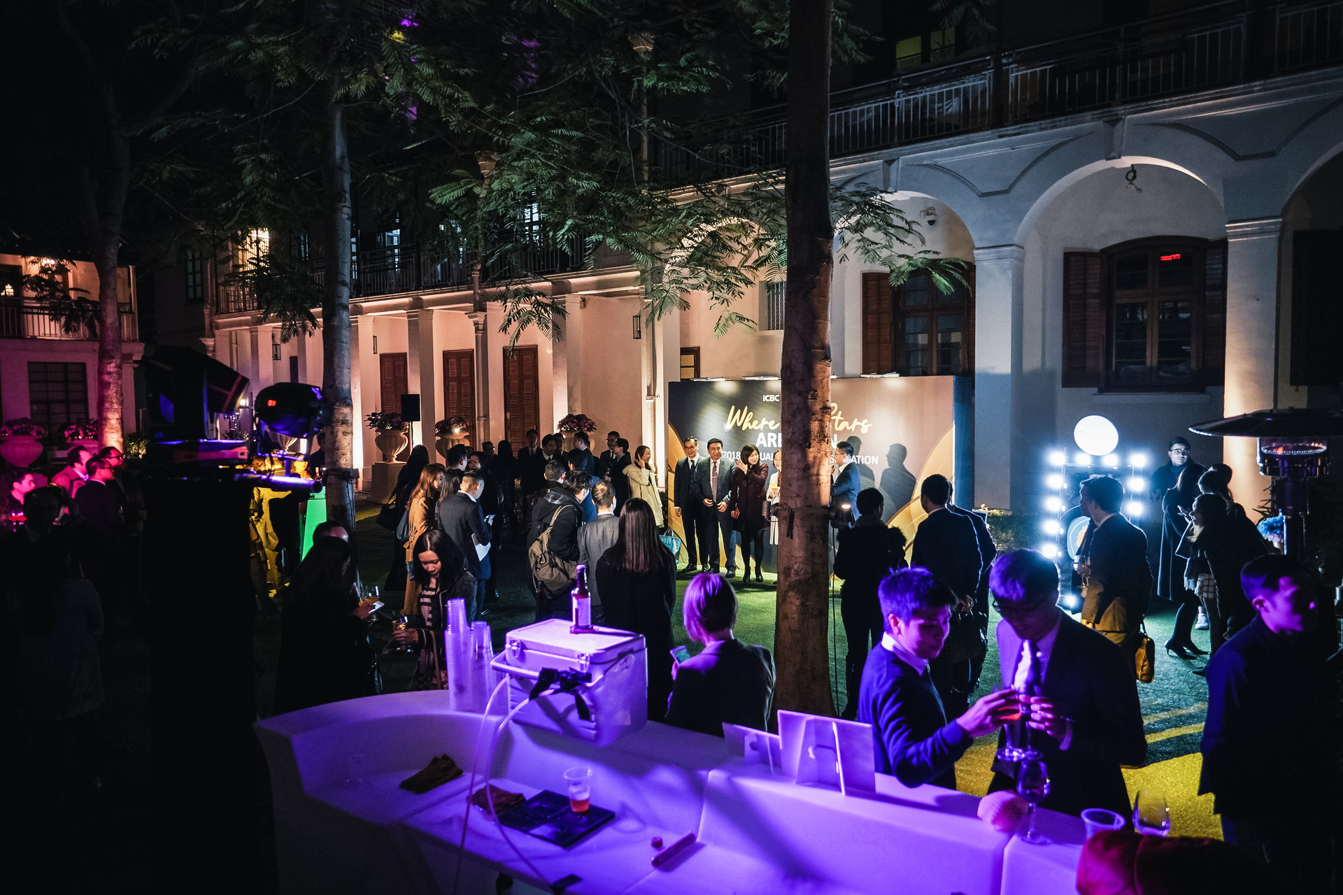 FWD x ICBC Annual dinner outdoor event wit mood lighting