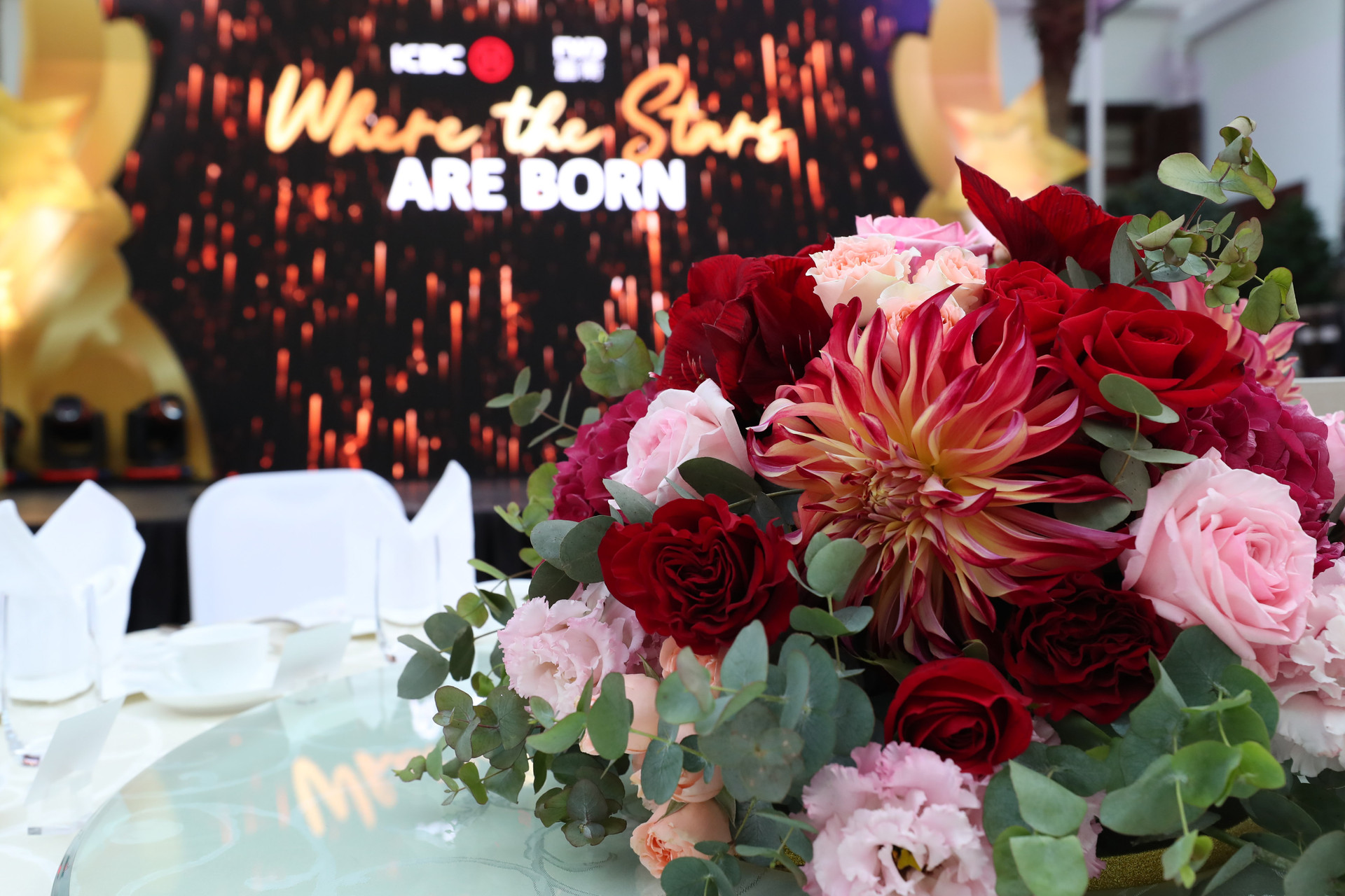 FWD x ICBC Annual Dinner event red flower centerpiece