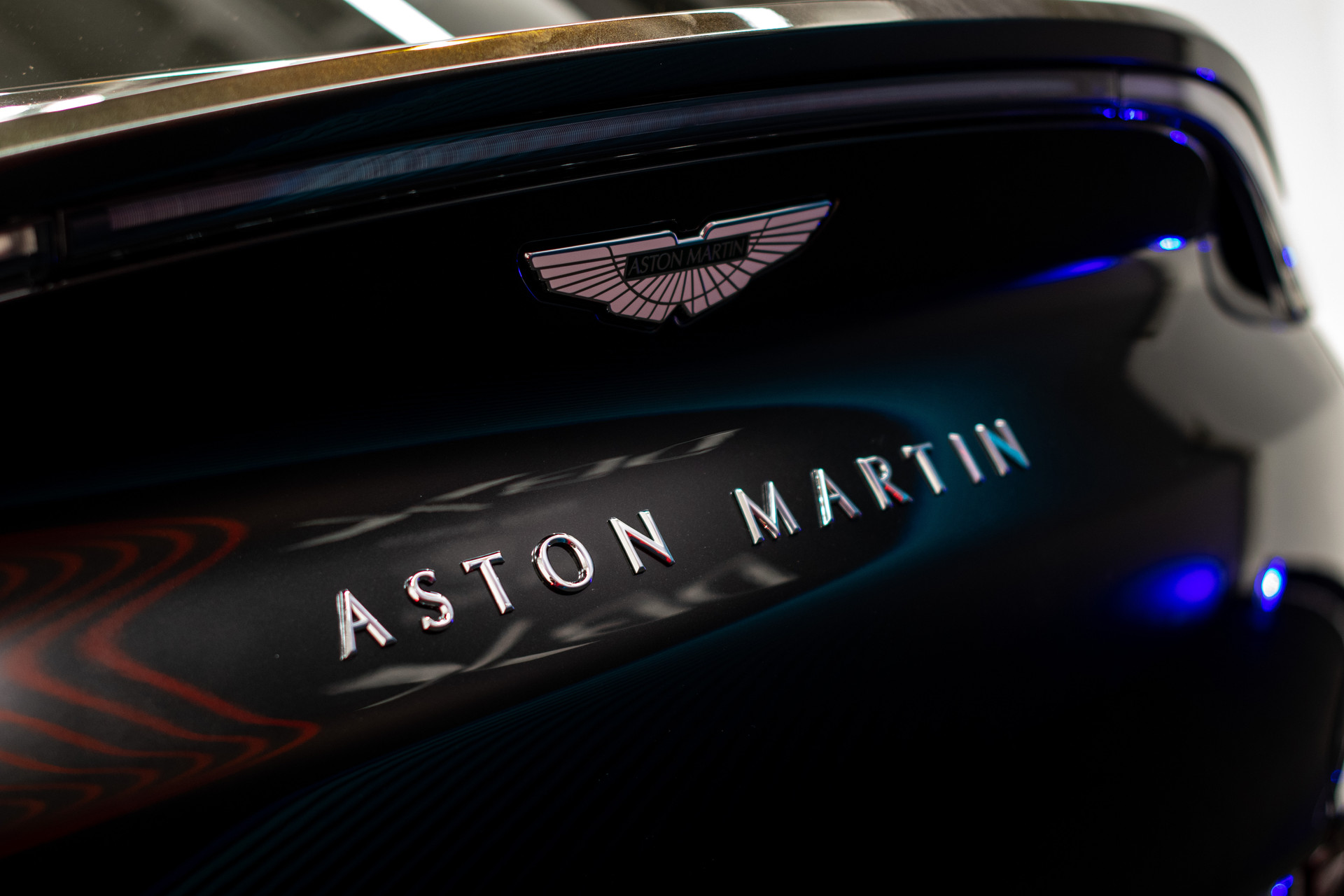 Aston Martin logo badge on DBX in Hong Kong event
