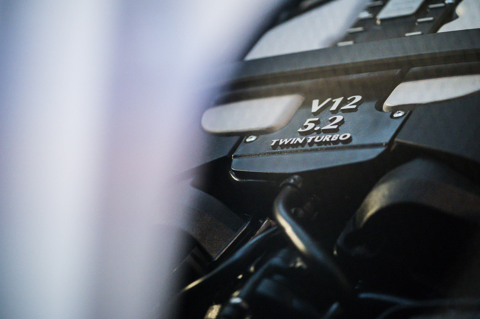 Aston Martin Super leggera close up of V12 engine in Hong Kong