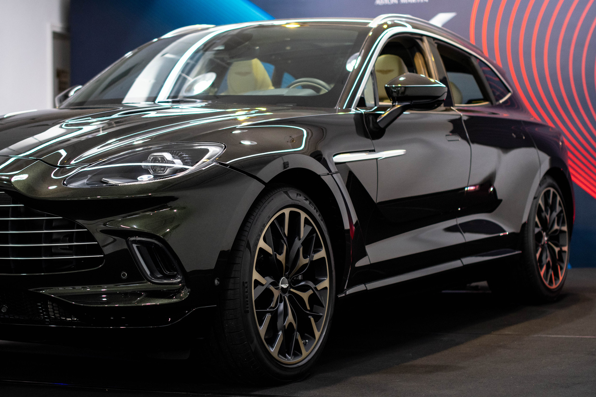 Side angle view of Aston Martin DBX in Hong Kong event