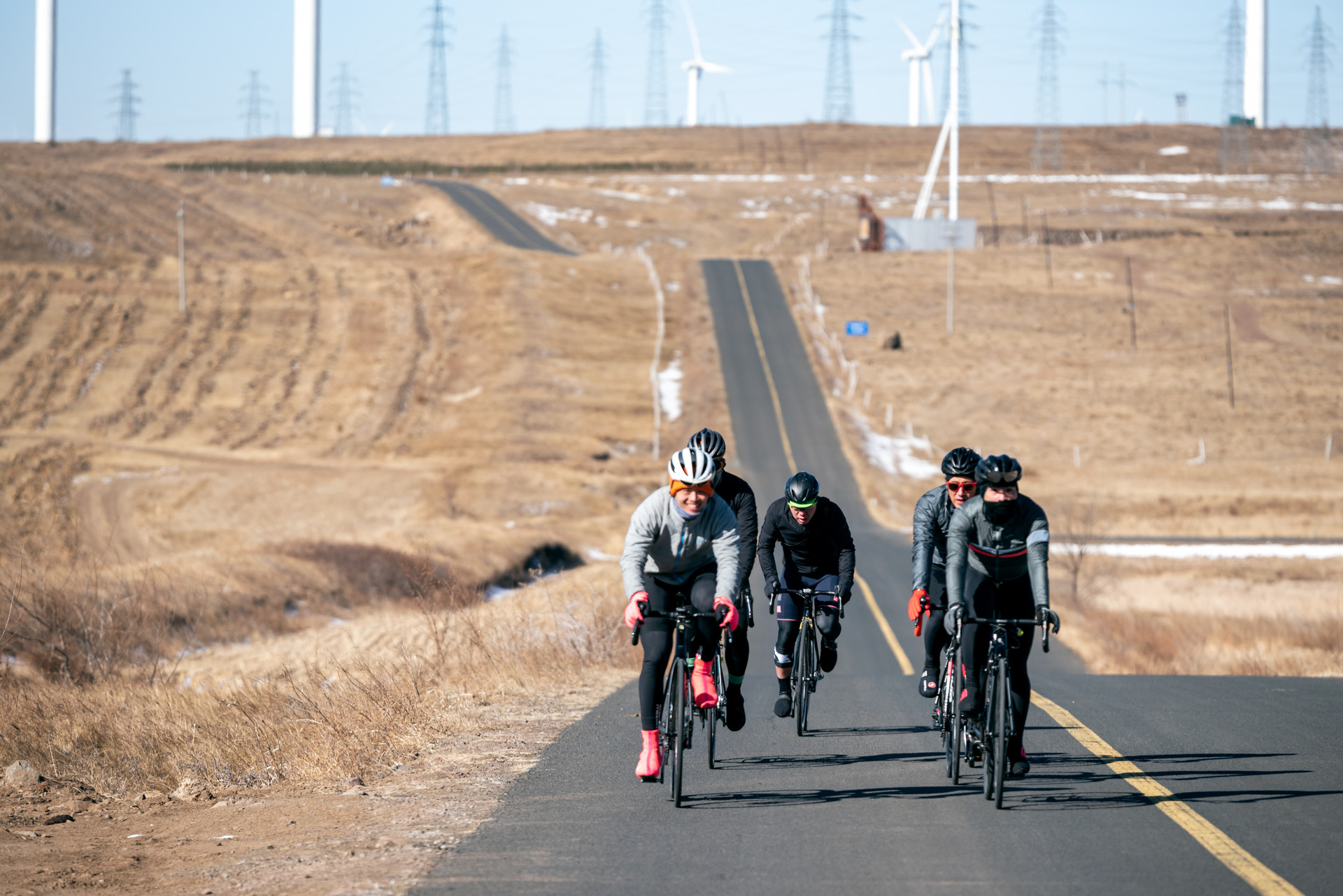 Asian Cyclists on a long road in Mongolia