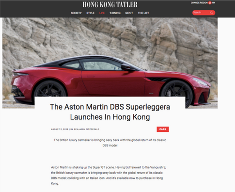 Aston Martin DBS Superleggera Hong Kong Tatler article screen shot