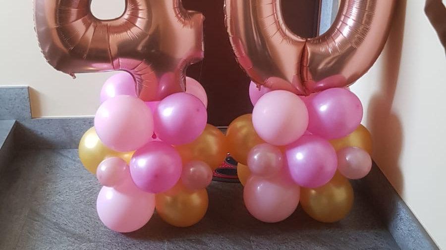 2 composizioni palloncini con numero