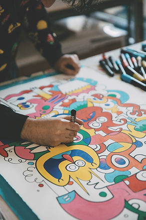 Jon Burgerman in the process of creating an artwork