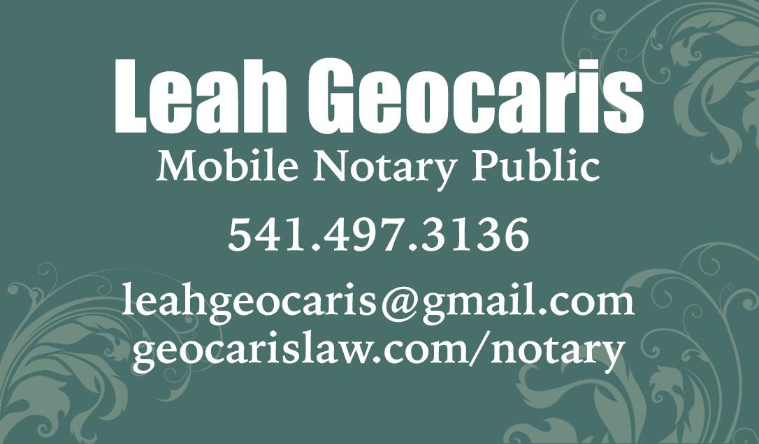 Geocaris Mobile Notary   Eugene Oregon   Notary Near Me