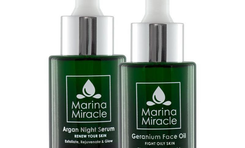 Pakkeløsning Geranium Face Oil(Acne Fight Serum) & Argan Night Serum