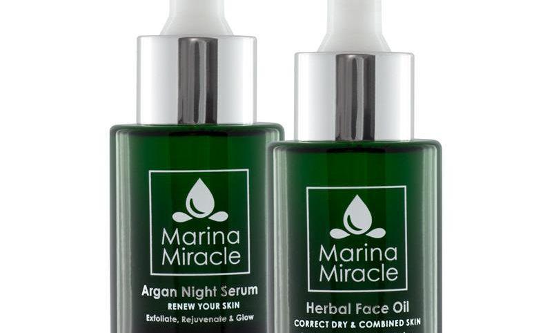 Pakkeløsning Herbal Face Oil & Argan Night Serum