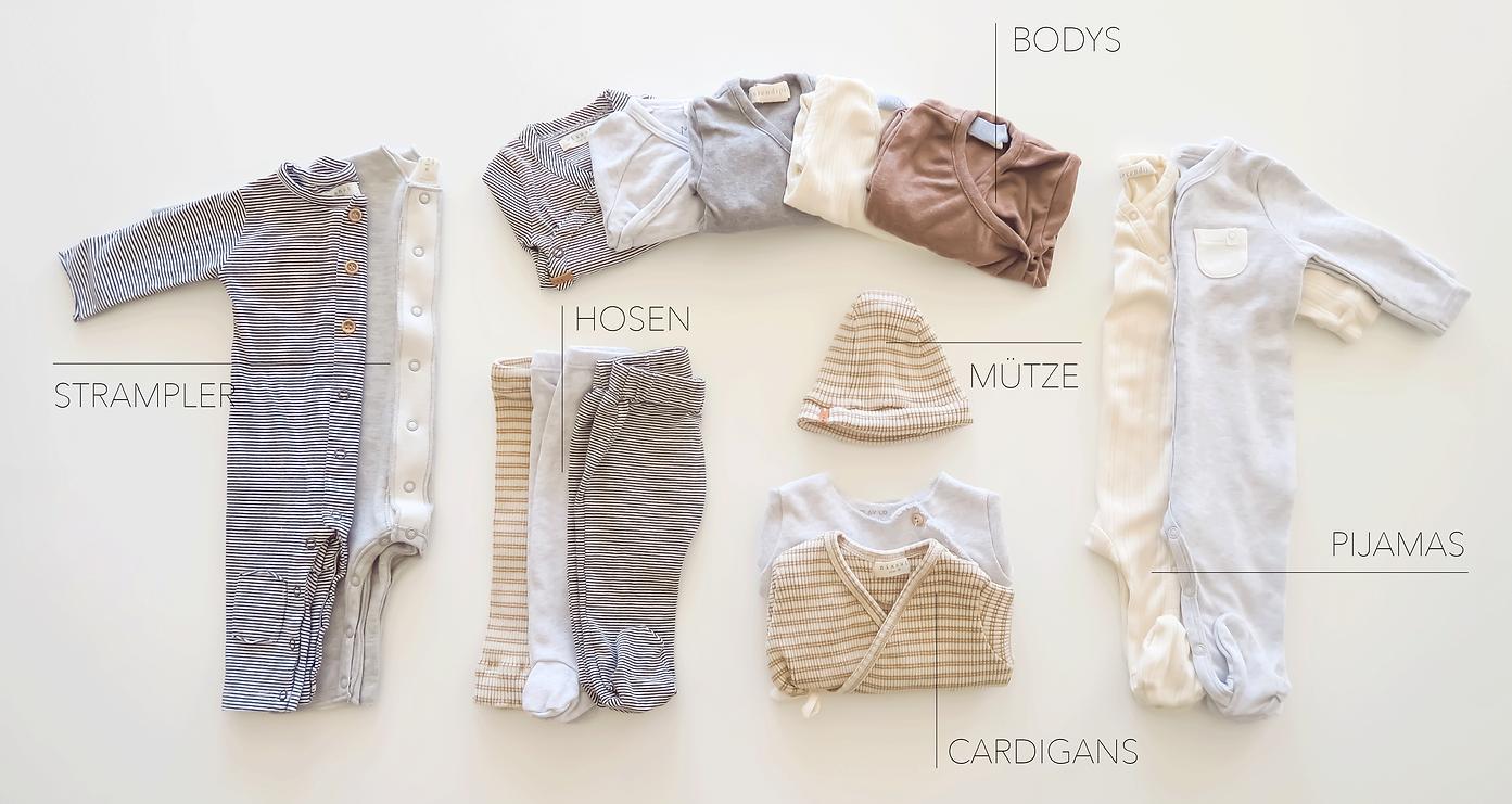 Sets mit Babykleidern aus Biobaumwolle