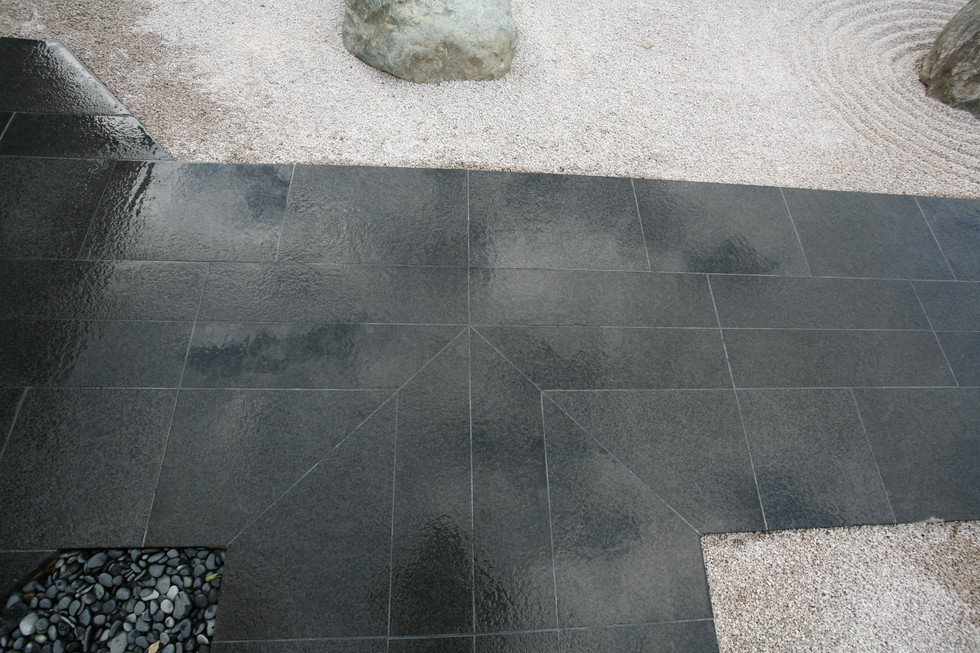 The finished Basalt paving all grouted and cleaned