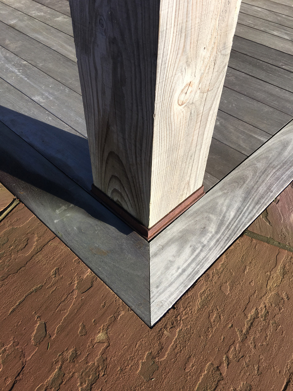 Silvered IPE Decking, Douglas Fir gazebo post in a bespoke CorTen steel shoe