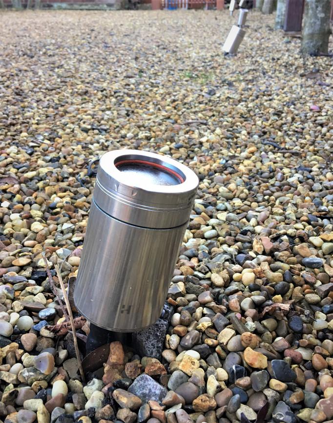 Stainless Steel Hunza Garden spot light. Burnham Market, near Blakeney, North Norfolk