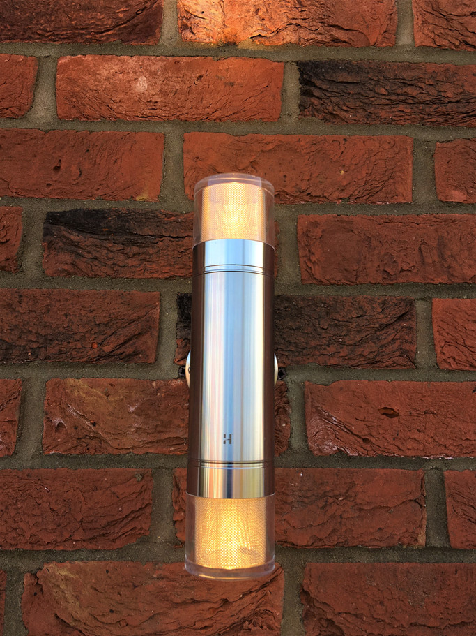 Stainless Steel Hunza Garden wall light. Burnham Market, near Blakeney, North Norfolk