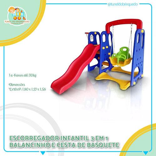 Escorregador Infantil 3 em 1 (Balanço + Cesta de basquete)