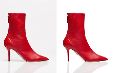 Retouching on shoes, removal of creases, dust cleaning and overall enhancement of the look