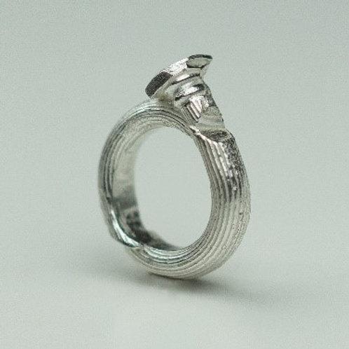 Fragmented column silver ring