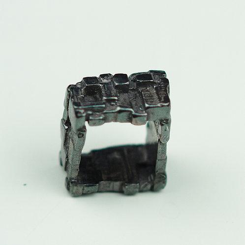 Silver maze ring