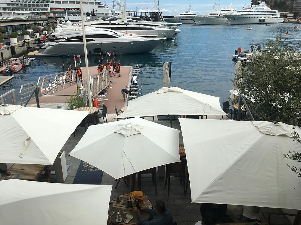 Parasols, port, Monaco, aviron, apéro