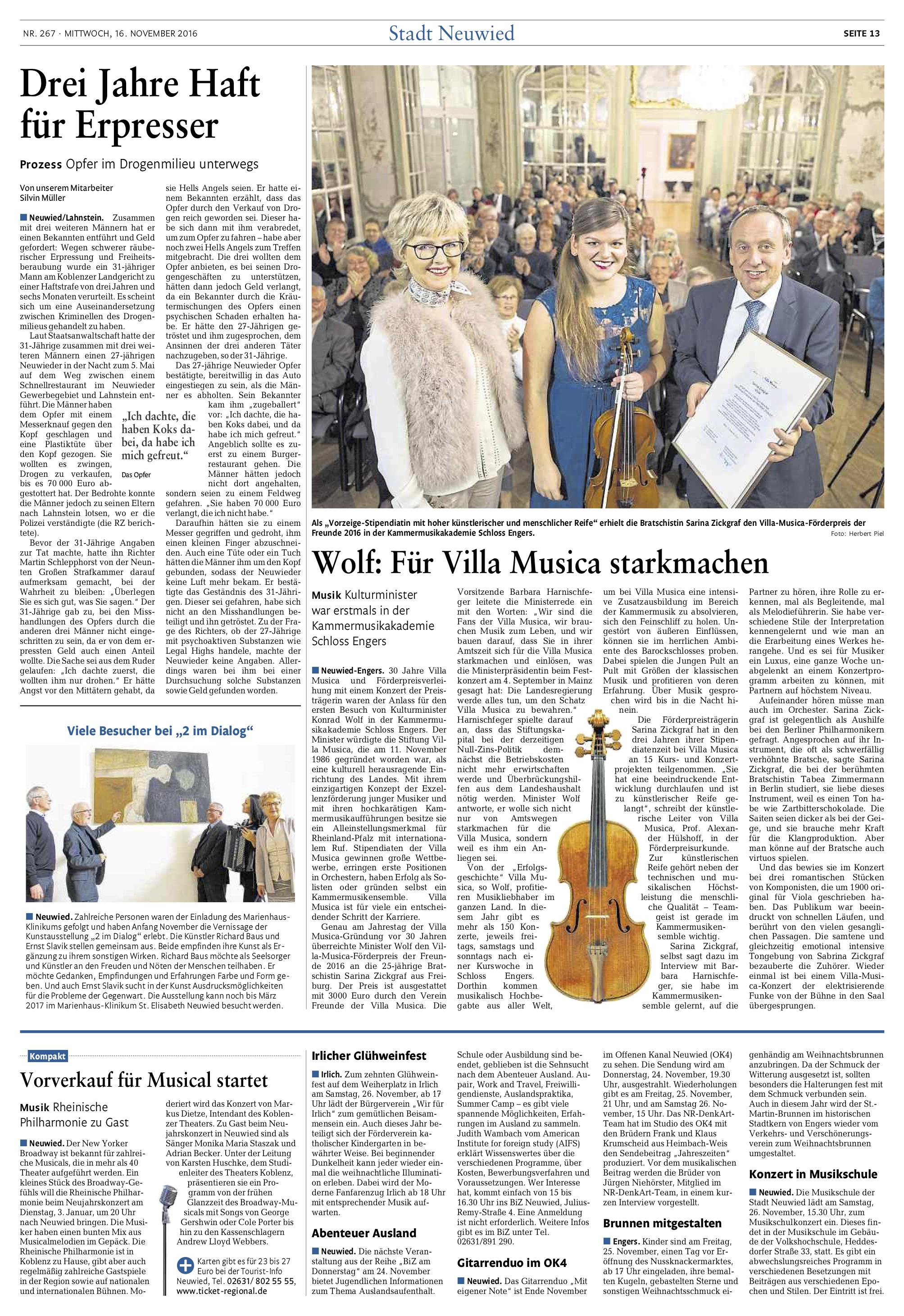 Förderpreis Villa Musica 2016