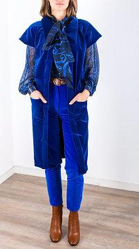 Manteau kimono en velours avec poches plaquées