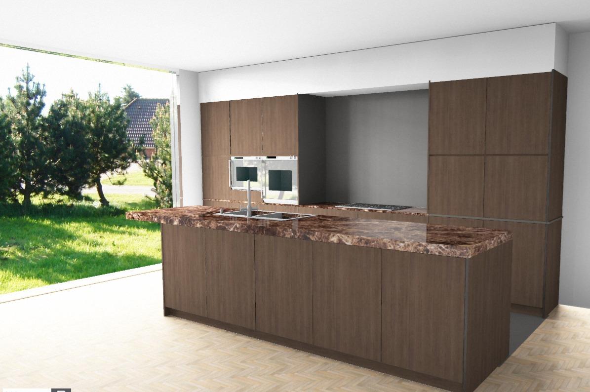 3D render keuken Hove