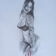 Lady drawing by me (ANONEISON) TATTOOS on her drawn by Anthony Carreiro