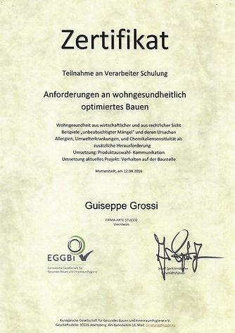 Zertifikat Guiseppe Grossi