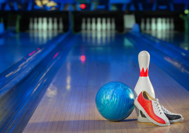 shoes, bowling pin and ball for bowling