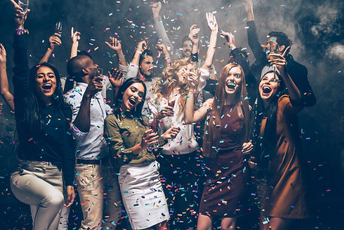 Party fun. Group of beautiful young peop