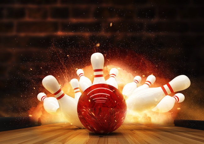 Bowling strike hit with fire explosion.