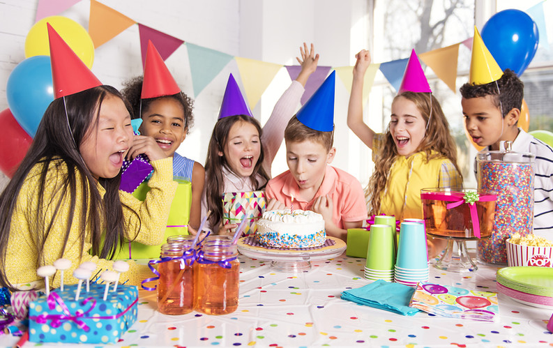 A group of children at birthday party at