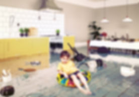 boy in the flooded room. Media elements