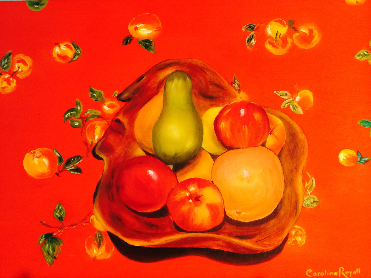 Fruit Bowl With Oil Cloth