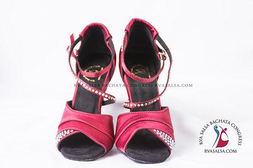 Burgundy With Rhinestones Ladies Salsa/Latin Dance Shoe
