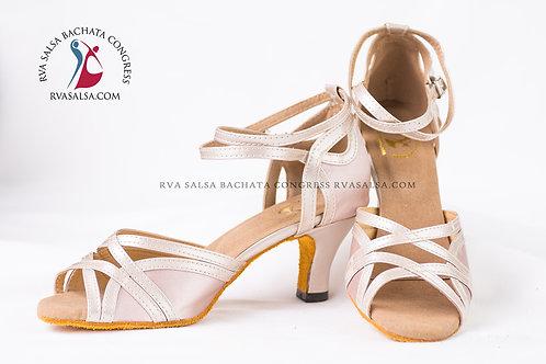 Flesh (Light Beige) Satin Salsa/Latin Dance Shoe