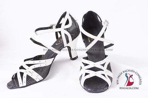 Black and White Ladies Salsa/Latin Dance Shoe
