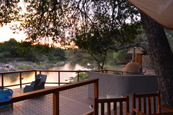 Sunset over Saleda Lodge's deck