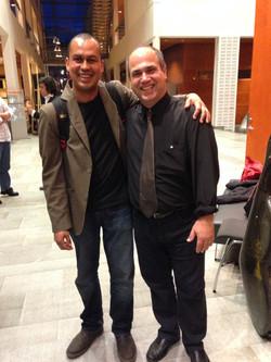 Nelson Faria e eu após Jobim Concert