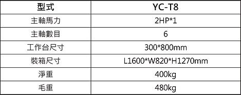 YC-T8 橫式彎曲木鑽孔機